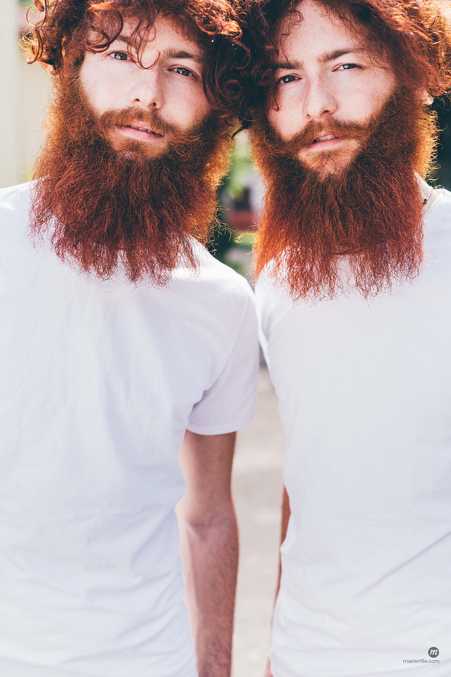 Portrait of young male hipster twins with red beards wearing white tshirts  © Masterfile