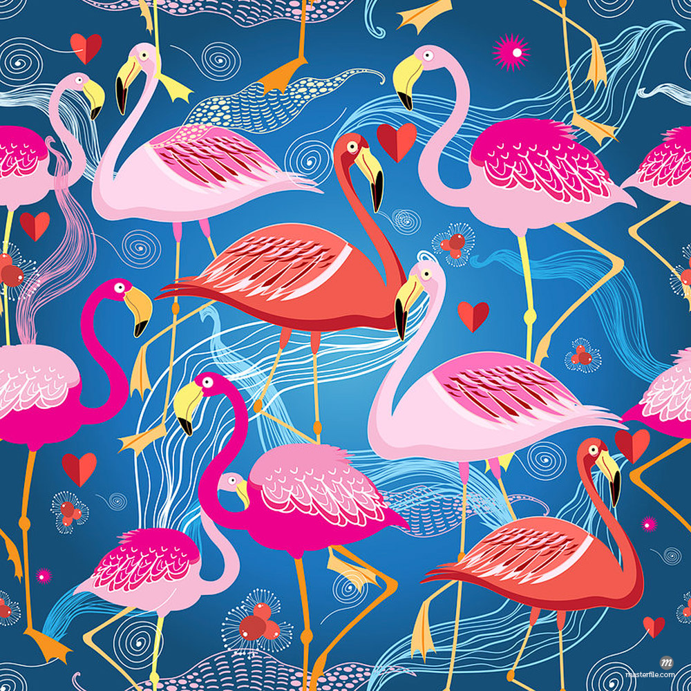 Beautiful graphic pattern from different flamingo on a blue background © Masterfile