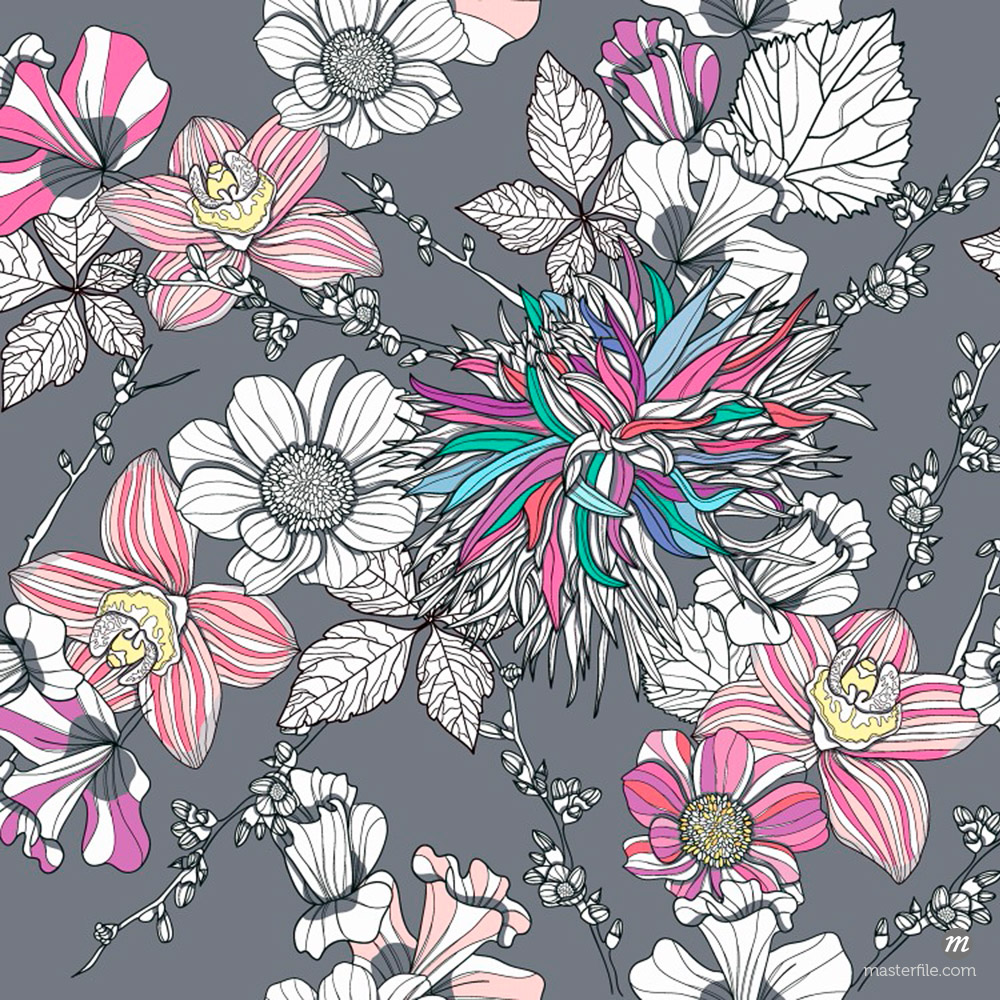 Seamless pattern with flowers © Masterfile