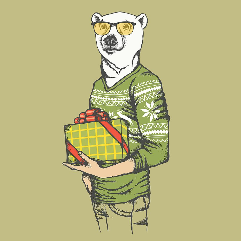 White polar bear in human sweatshirt © leedsn / Masterfile