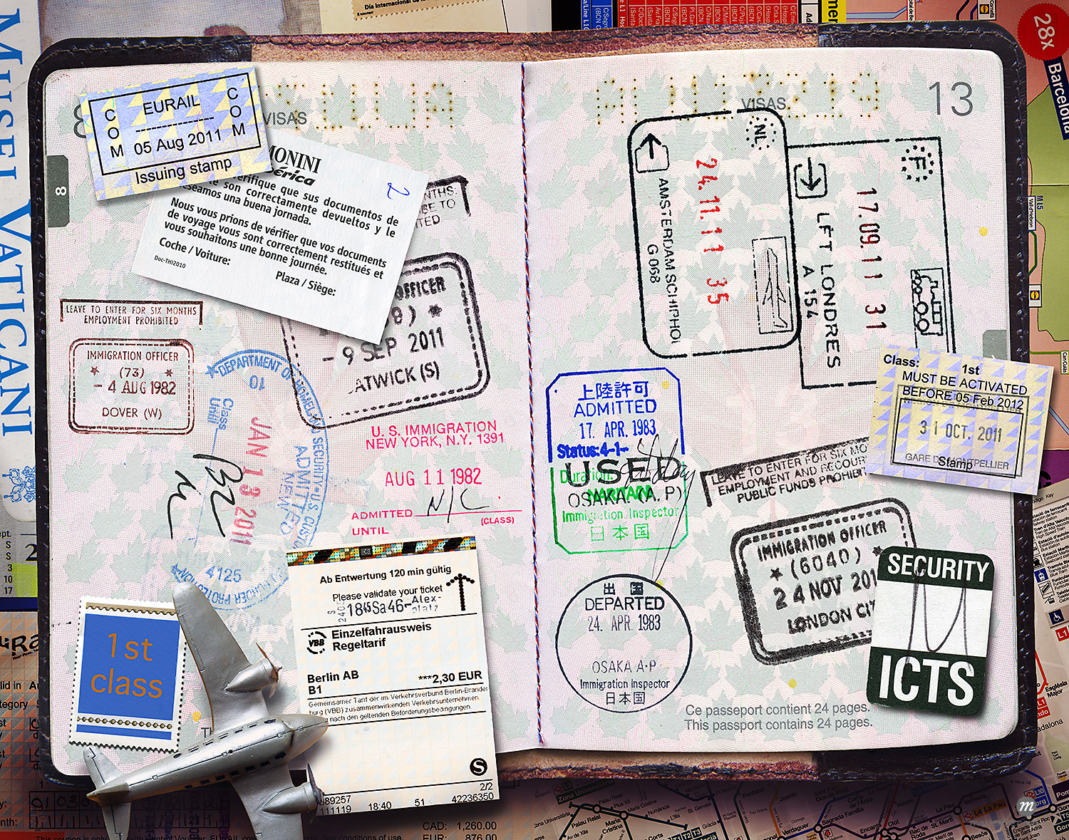 Passport with Stamps  © Andrew Kolb / Masterfile