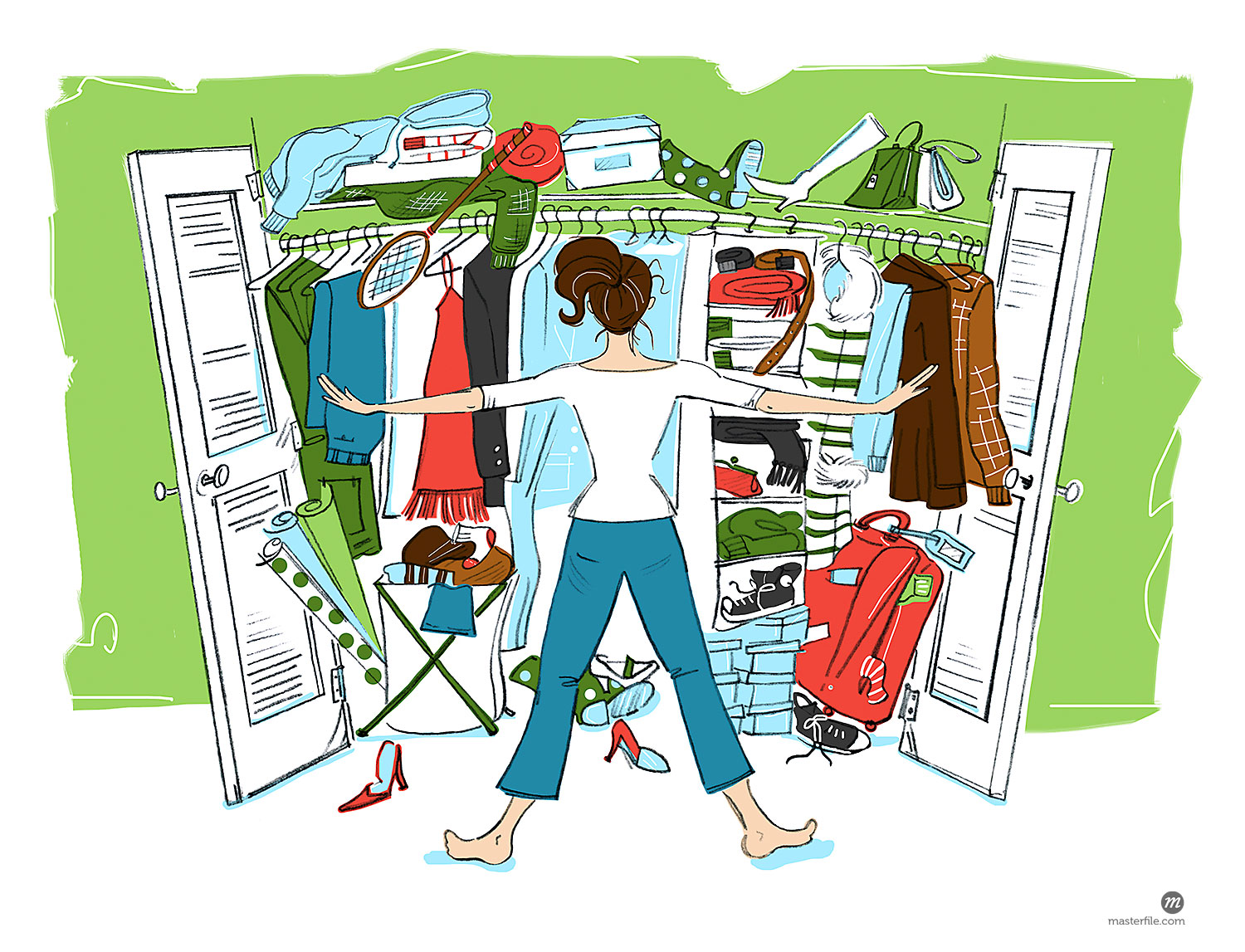 Illustration of Woman Looking in Cluttered Closet  © Lisa Brdar / Masterfile