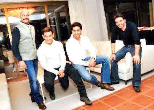 Aamir Khan, Abhishek Bachchan and Uday Chopra on the sets of  Dhoom:3