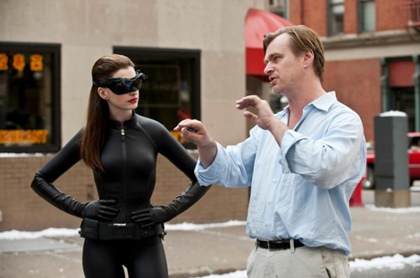 Nolan and Hathaway on the sets of  The Dark Knight Rises