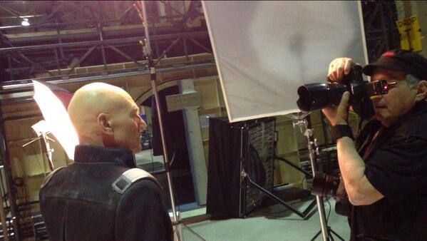 Patrick Stewart on the sets of  X-Men: Days of Future Past