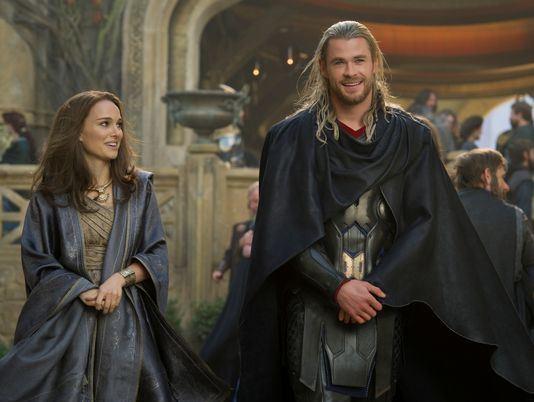 Chris Hemsworth and Natalie Portman in Chris Hemsworth in 'Thor: The Dark World'