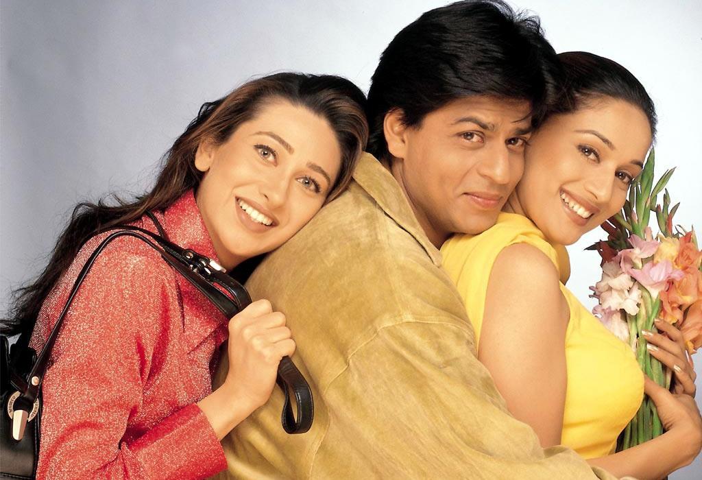 Karisma Kapoor with Shah Rukh Khan and Madhuri Dixit in  Dil To Pagal Hai