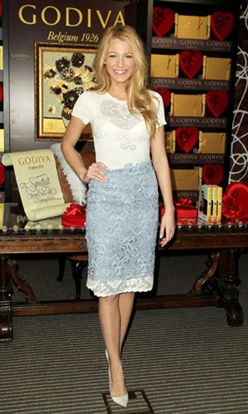 Blake Lively at Godiva in Valentino, Feb 2012