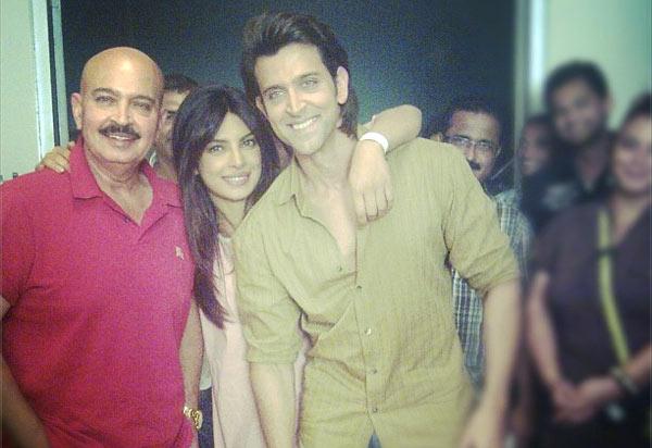 Rakesh Roshan, Priyanka Chopra and Hrithik Roshan on the sets of  Krrish 3