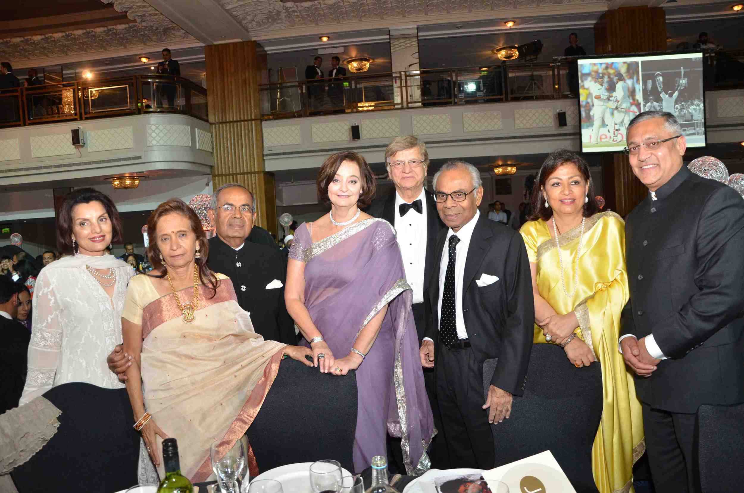 Hinduja family members; Gopichand Hinduja; Cherie Blair CBE, QC; Lord Noon;  Srichand Hinduja; guest; Kamlesh Patel
