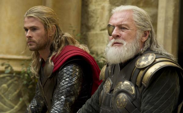 Chris Hemsworth and Anthony Hopkins in  Thor: The Dark World
