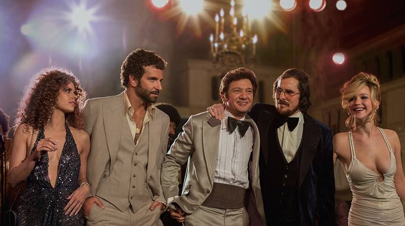 Amy Adams, Bradley Cooper, Jeremy Renner, Christian Bale and Jennifer Lawrence in  American Hustle
