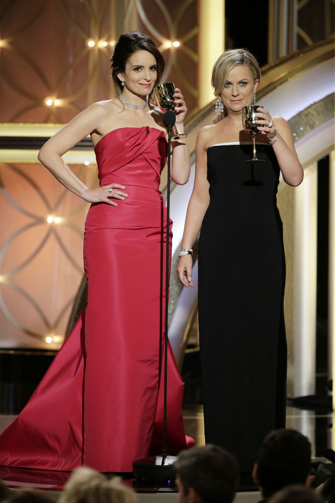 Fashion stylists  Karla Welch  (Amy Poehler) and  Cristina Ehrlich  (Tina Fey) styled the two hosting comediennes in designers such as  Carolina Herrera, Stella McCartney  and  Ted Baker .