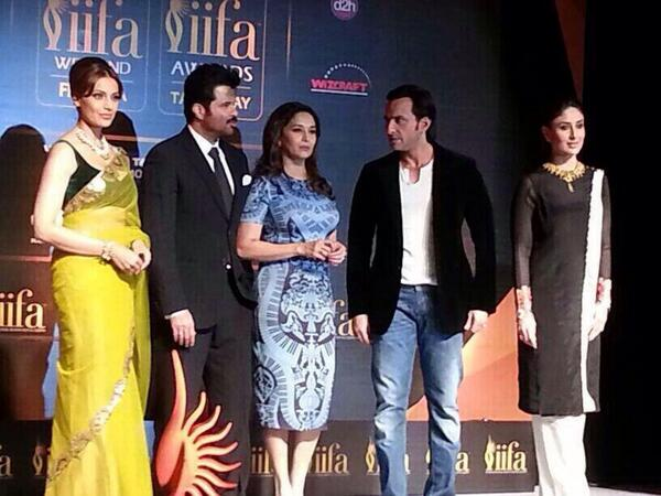 Bipasha Basu, Anil Kapoor, Madhuri Dixit Nene, Saif Ali Khan and Kareena Kapoor Khan at the press conference in Mumbai earlier today
