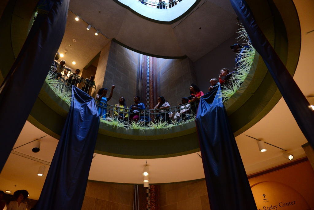 """ Monument ,"" 2013. Photo documentation of live performance, Smithsonian National Museum of African Art. Photo credit: Rosina Photography."