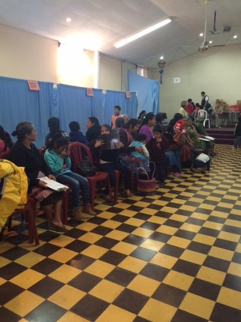 """There was a line outside the church two hours before the clinic opened. This is our """"waiting room"""""""