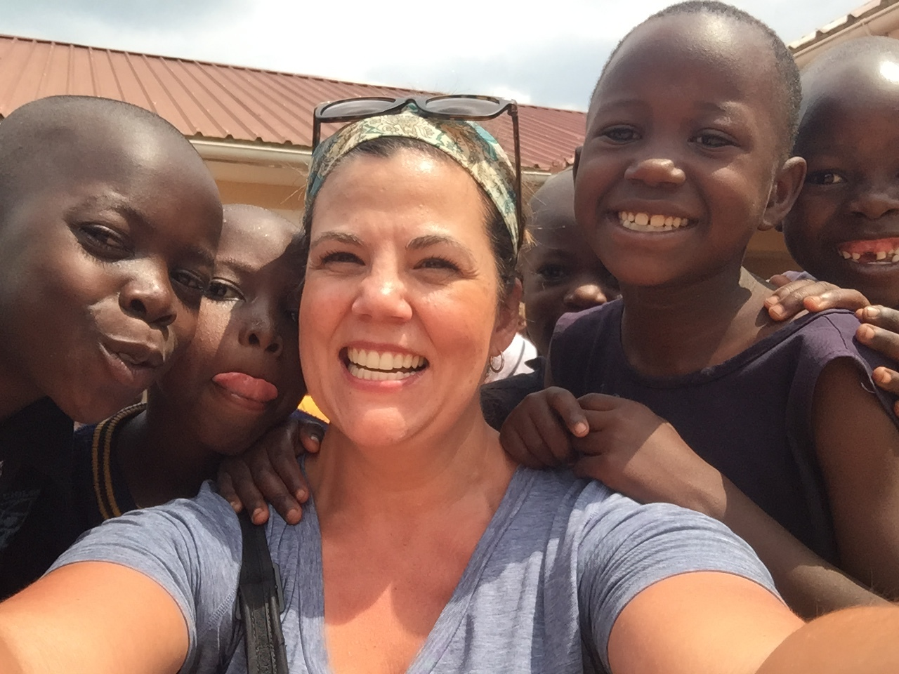 Sarah with some sweet, sweet children.