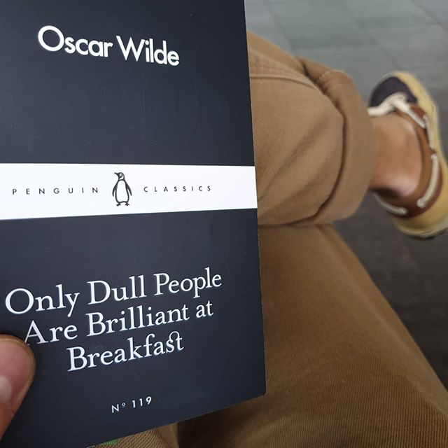 Today's muse... Maybe that's why I do intermittent fasting for the last couple of years and skip breakfast?? ... ... ... ... ... #intermittentfasting #OscarWilde #Muse #penguinclassics #sunday #deckshoes #turnups