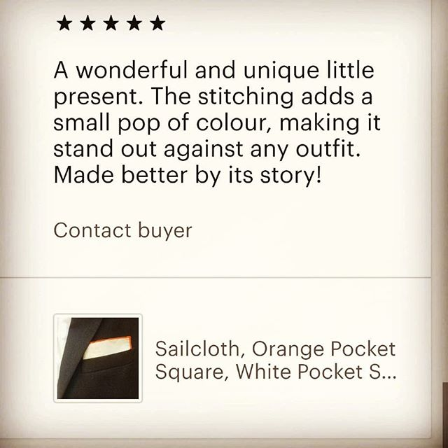 So very happy to receive this 5* review this morning (and a new order for a yellow pocket square) ⚓ 🧭 ⛵ 💨 #pocketsquare #dapper #menswear #gentleman #menstyle #sartorial #upcycle #handmade #spinnaker #sailcloth #Suit #Jacket  #dinghy #boat #sailing #sailingclub #yacht #yachtclub #wind #ocean #lake #reservoir #whitepocketsquare #mensaccessories #Handkerchief #Hanky #nautical #womensaccessories #saveouroceans #womenswear