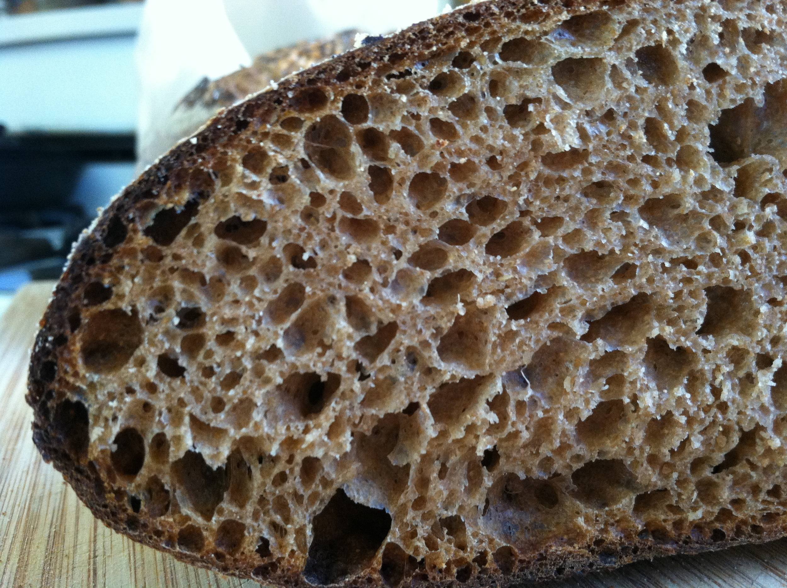 Opem crumb of   Flat Rock Villages's    Whole Wheat loaf using 100% Carolina Ground's Type 85 flour.