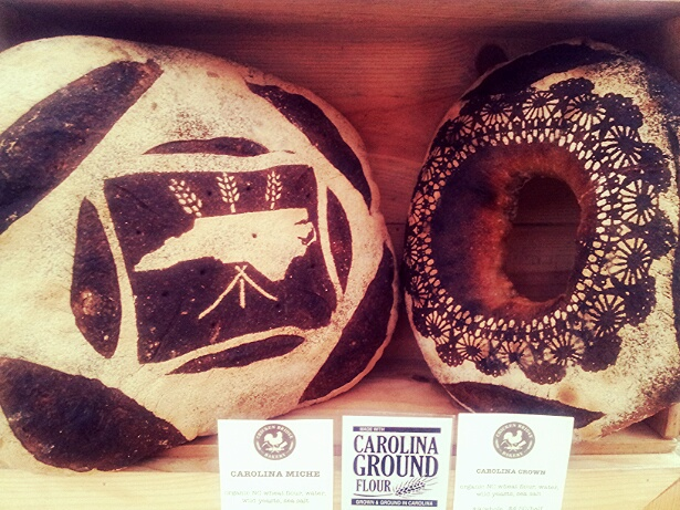 ABOVE:   Chicken Bridge Bakery   stenciled loaves featuring CG 85B .