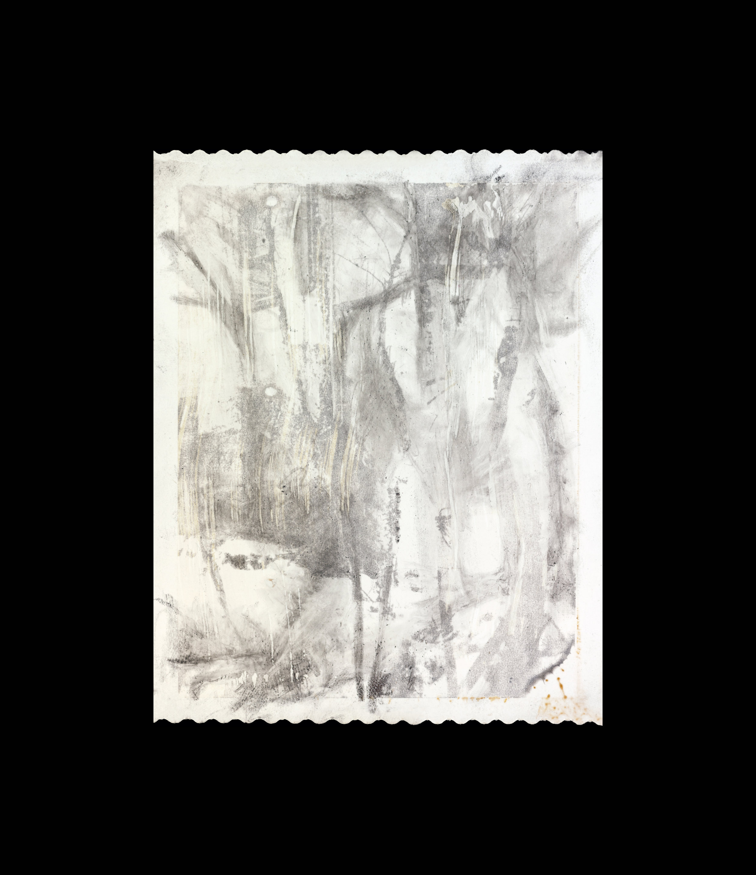 "Untitled #6  3-1/4"" H x 4-1/8"" W  Polaroid positive with graphite  2014-2018"