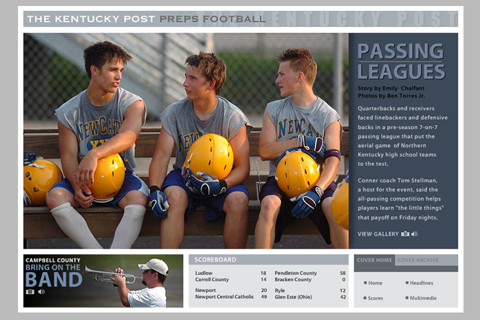 I was hired to design and produce The Kentucky Post Preps multimedia site for Scripps Newspapers, now  archived .