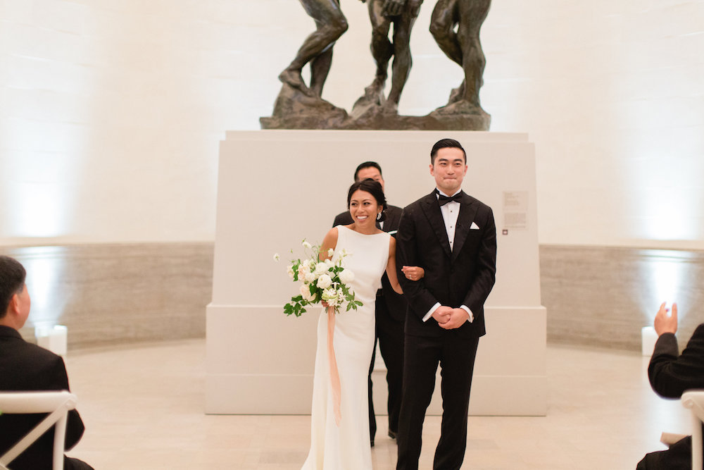 Kenny & Becky were married in the Rodin gallery at San Francisco's Legion of Honor Museum.  Photo by Max & Friends.