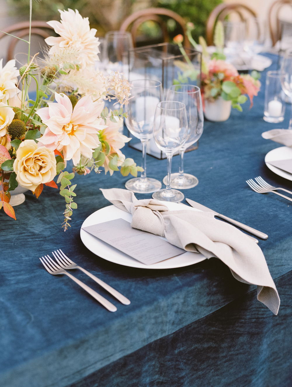 Midnight blue velvet never hurt nobody.  Photo by Michele Beckwith.  Event Design by Bash Please.