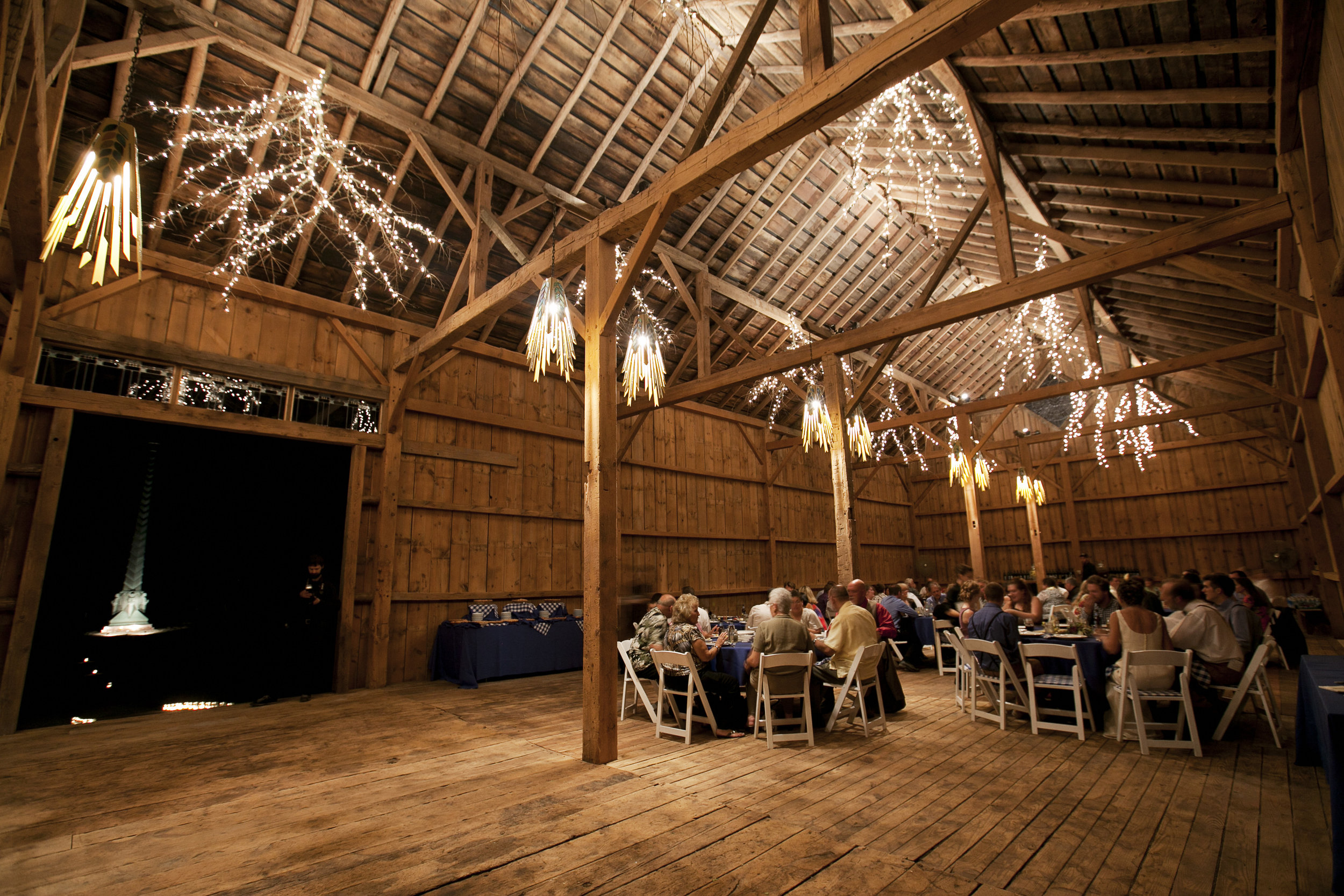 The barn can seat up to 200 guests.  Image by  Ellagraph Studios