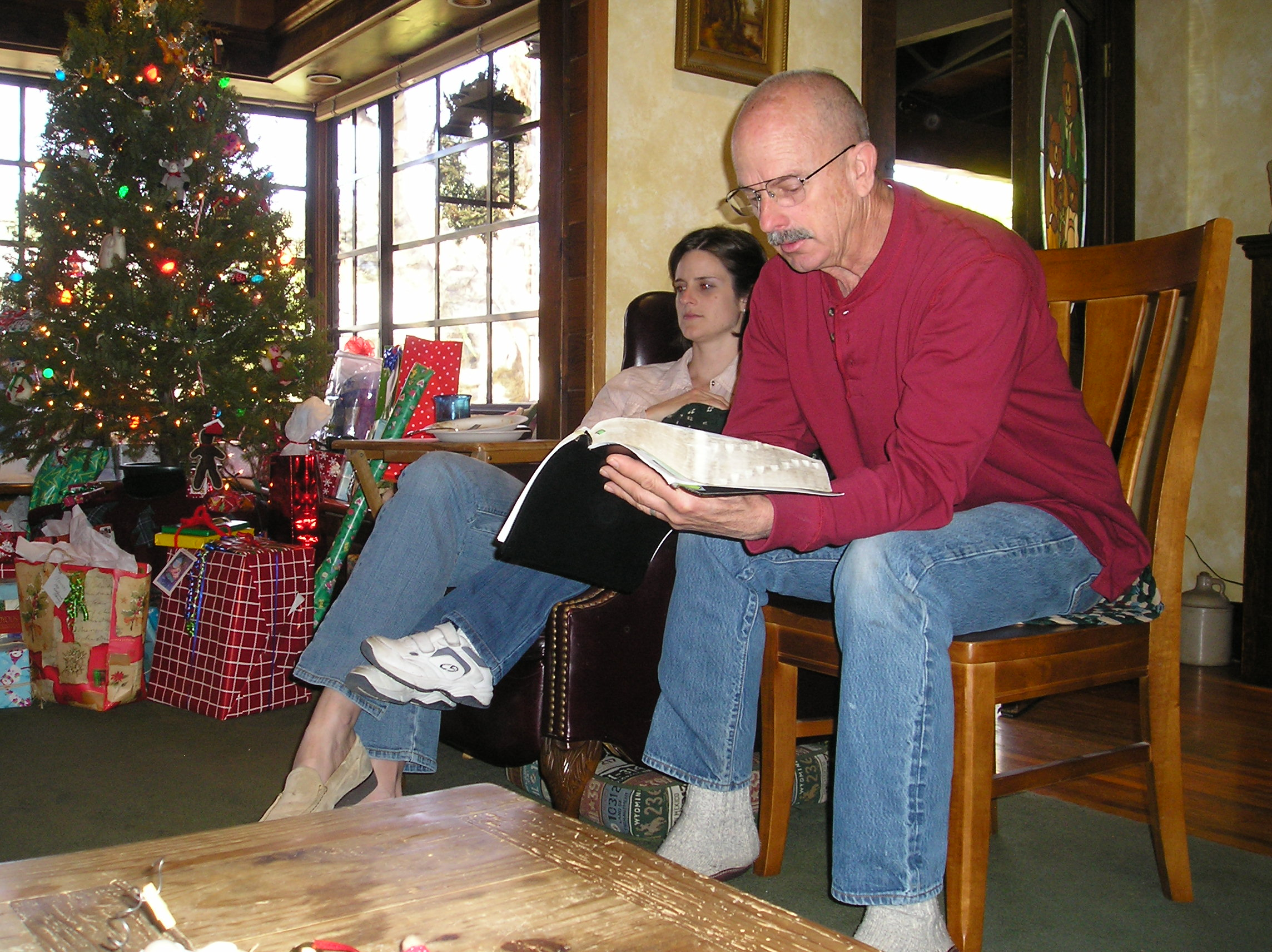 Gary reads the Christmas story to the family way back when we were just beginning the long, difficult process of finding out the cause of his cognitive impairment.