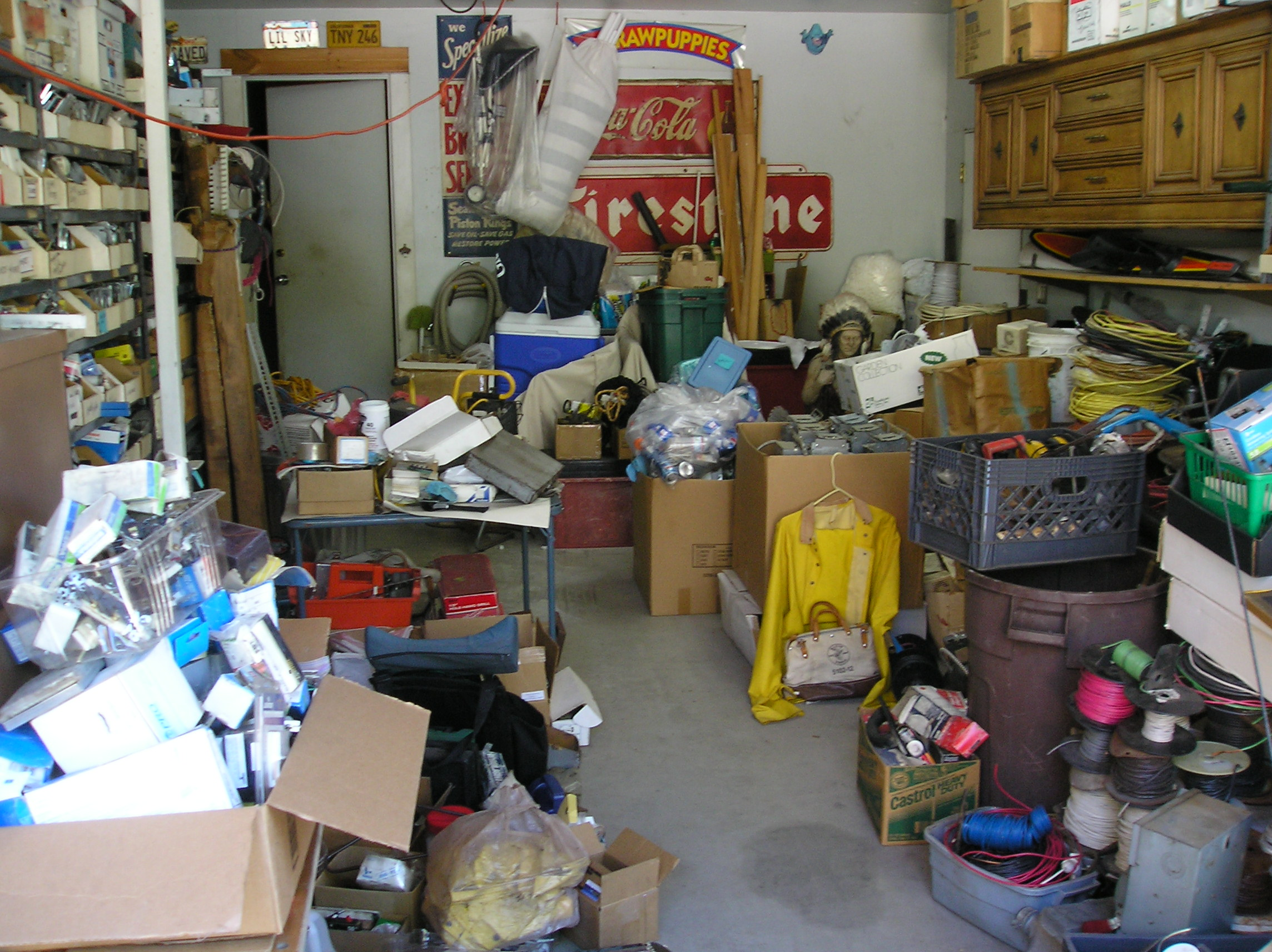 Our garage only slightly messier than normal due to Gary's work truck being unloaded here prior to selling.