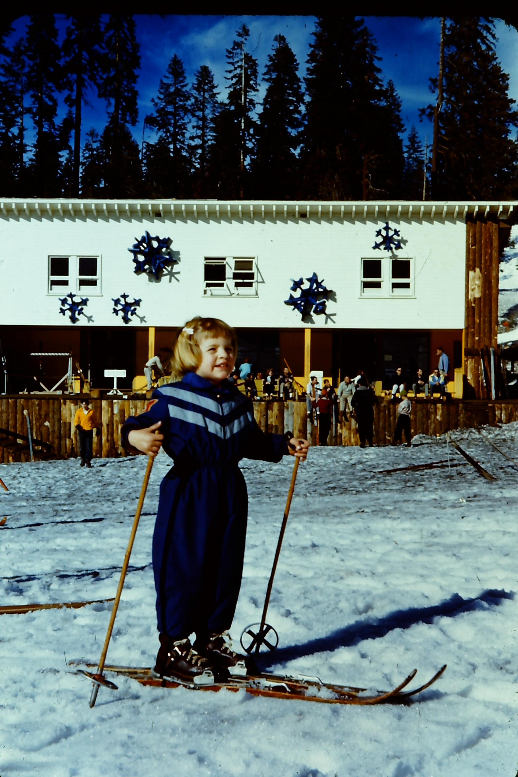 Me and Snowflakes....we go way back.  Badger Pass at Yosemite sometime around 1956.  I still remember the big 3-D snowflakes on the front of the lodge.