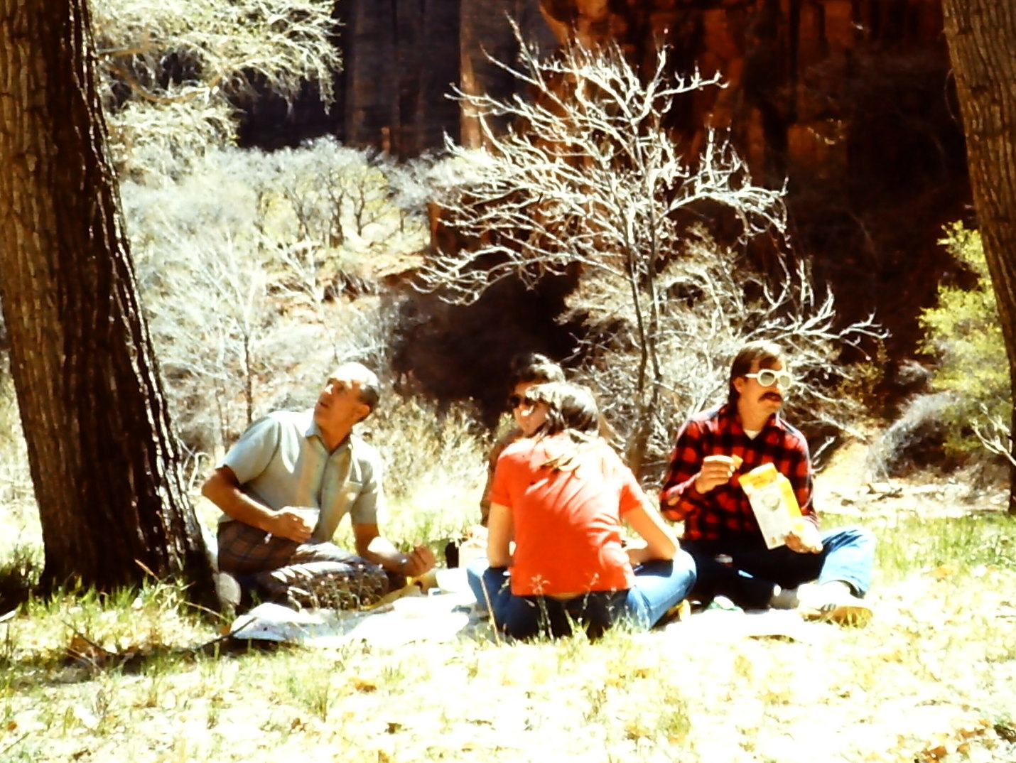 "As we were all posing pretending to be ""interested in something"" off to the left, Gary looked the opposite way, just as the photo was snapped to point out the ""fake"" pose of everyone else.  It's not that great of a picture, but I've chuckled every time I see it.   (Zion National Park, 1977)"