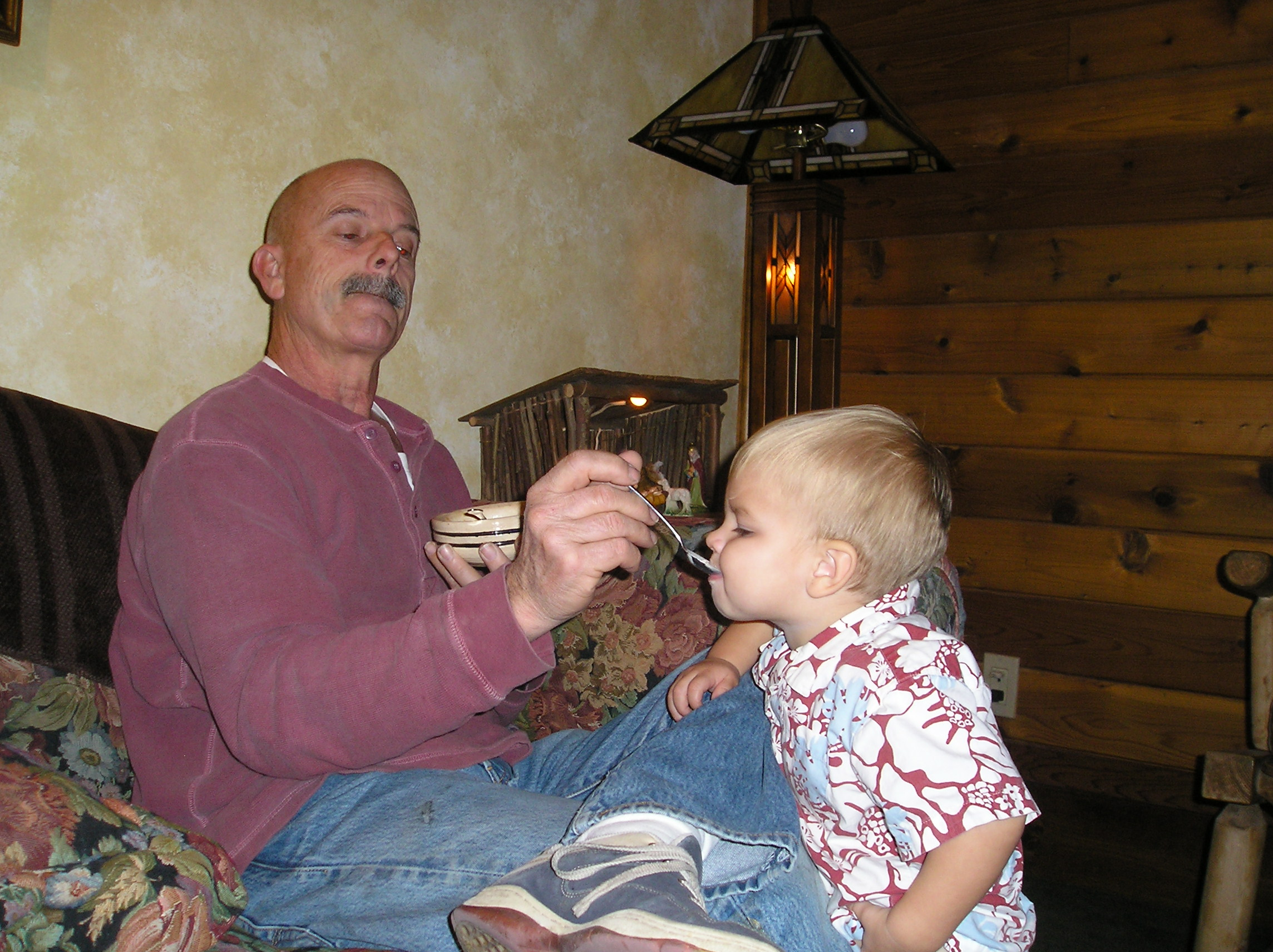 2006 - Gary shares his ice cream with grandson, Micah.