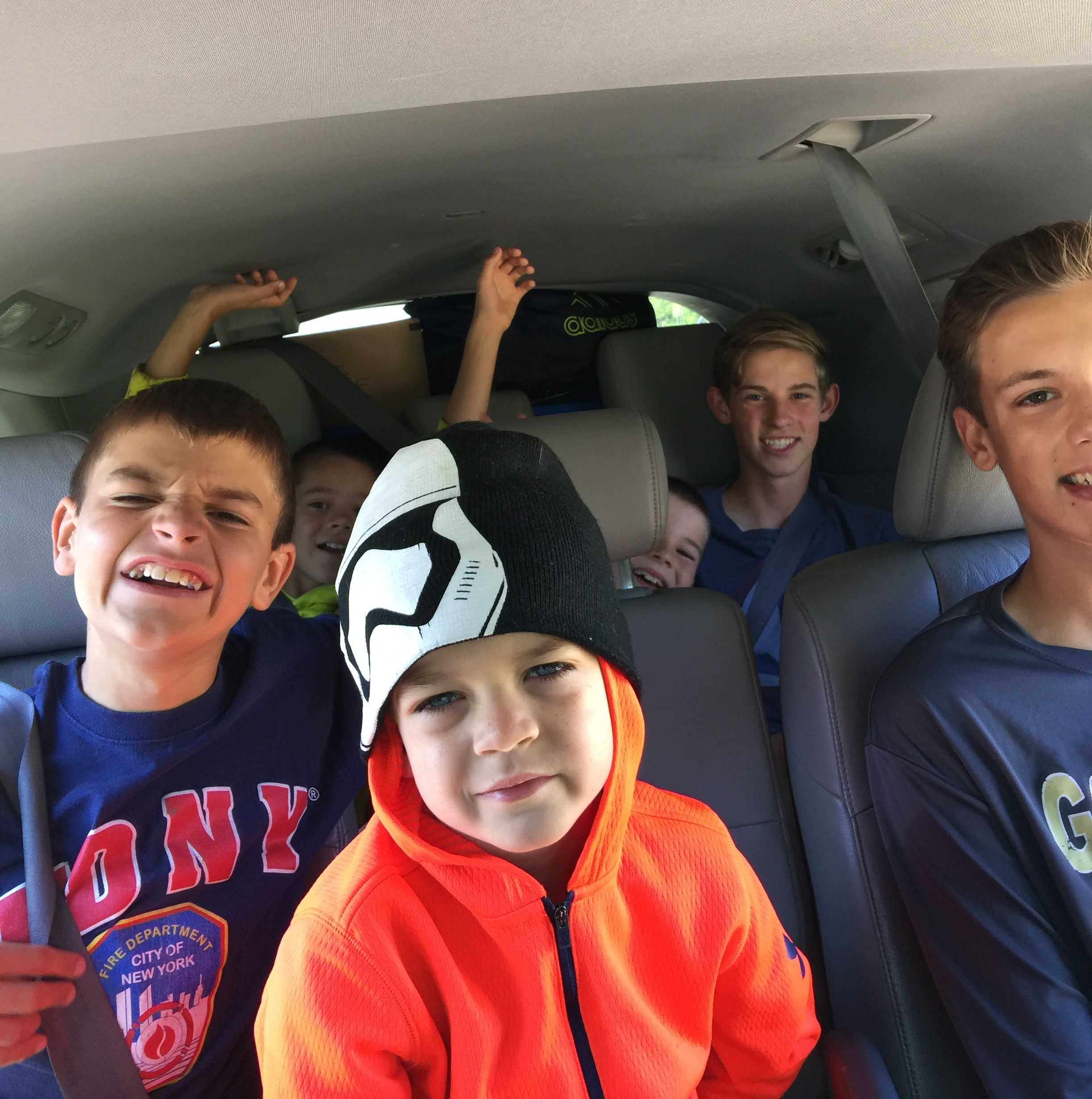 Cousin fun in the van!