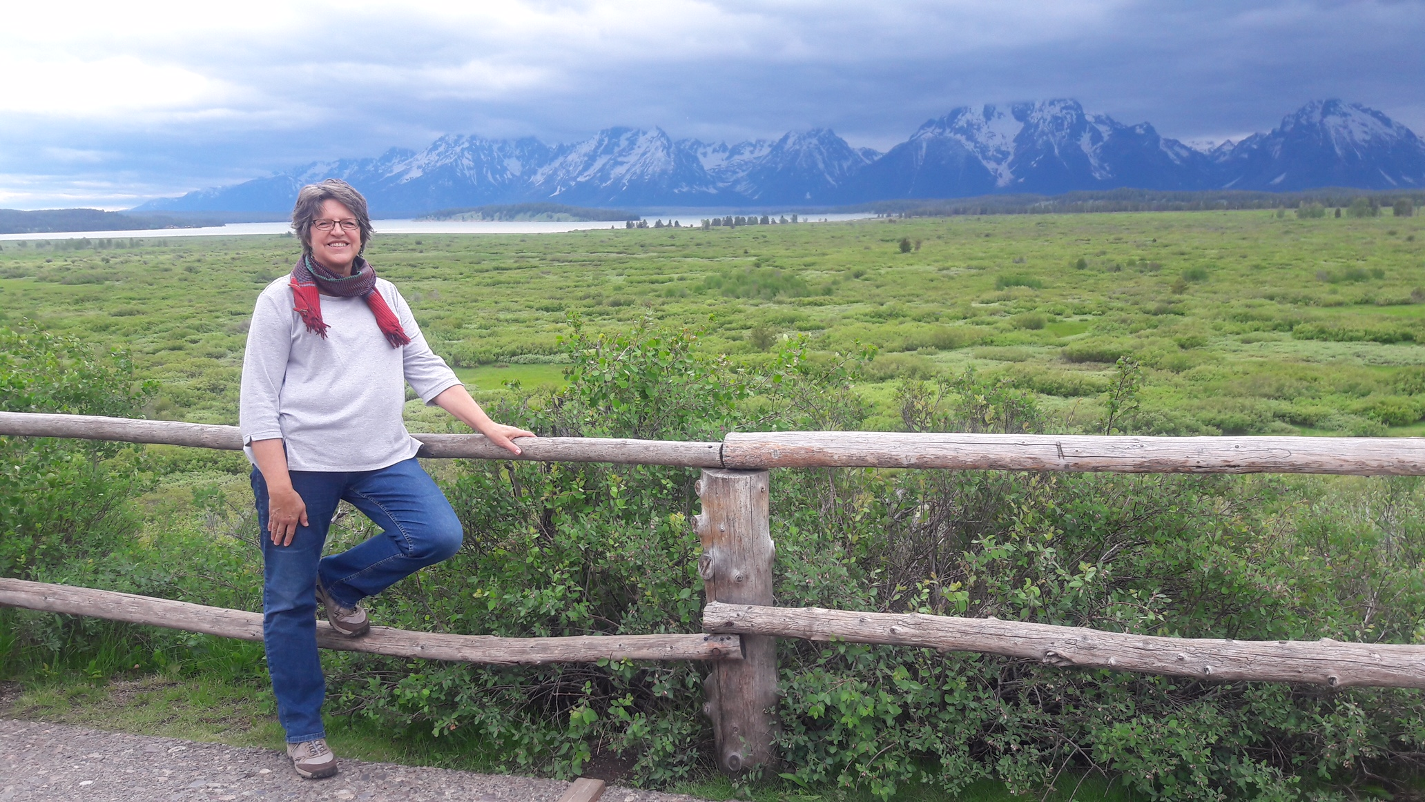 Standing in front of Mr. Rockefeller's view - Jackson Lake Lodge - GTNP