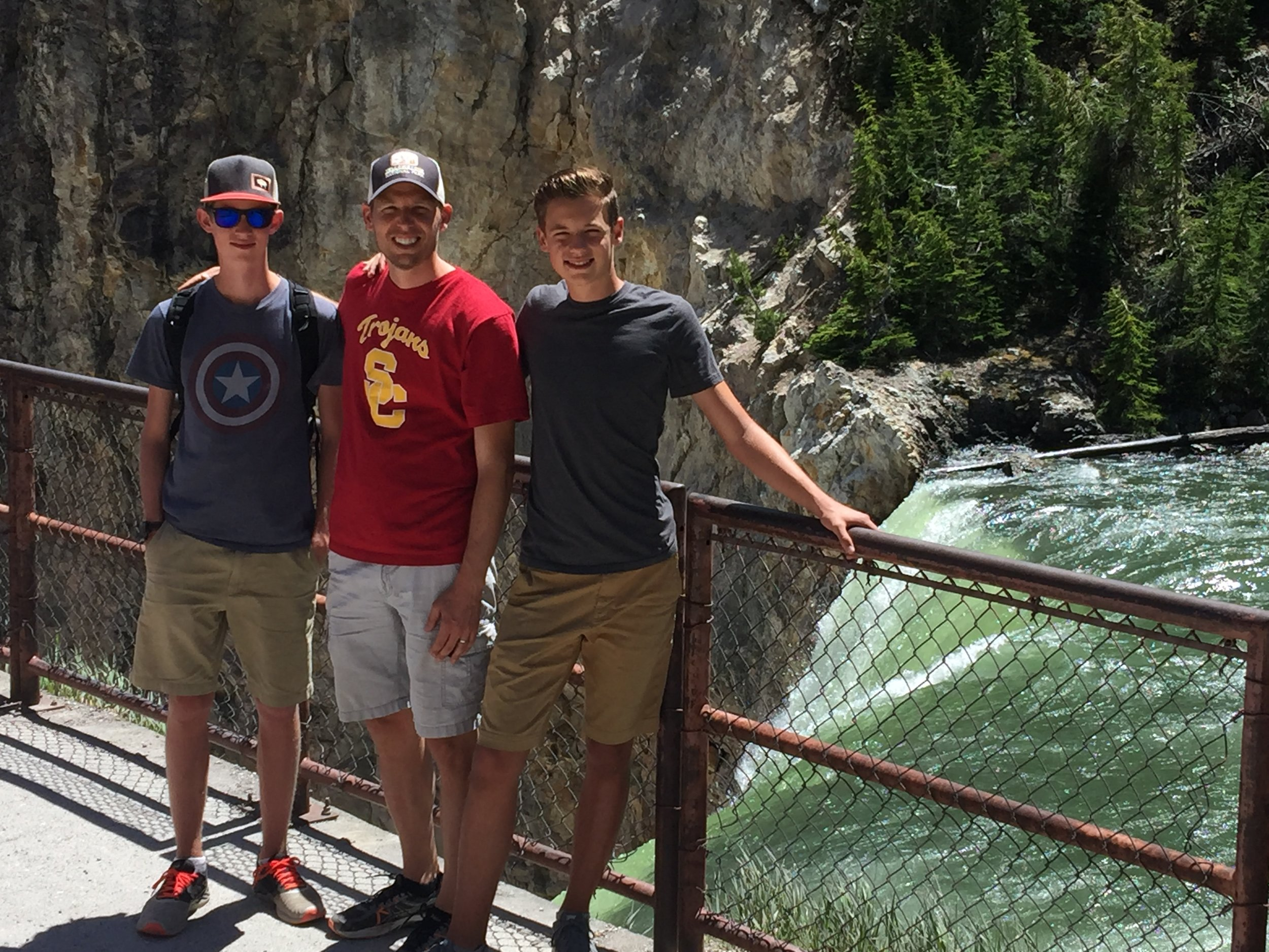 The Dougherty men at Yellowstone Falls