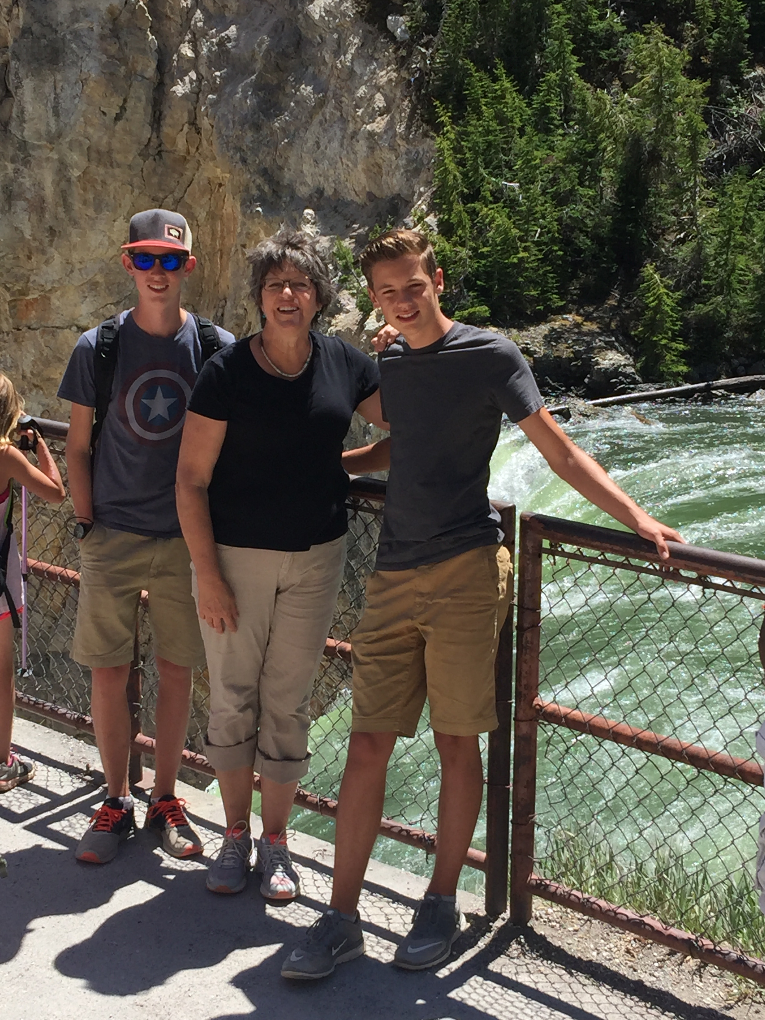 Happy to be here with these wonderful young men.  Brink of Lower Falls - YNP