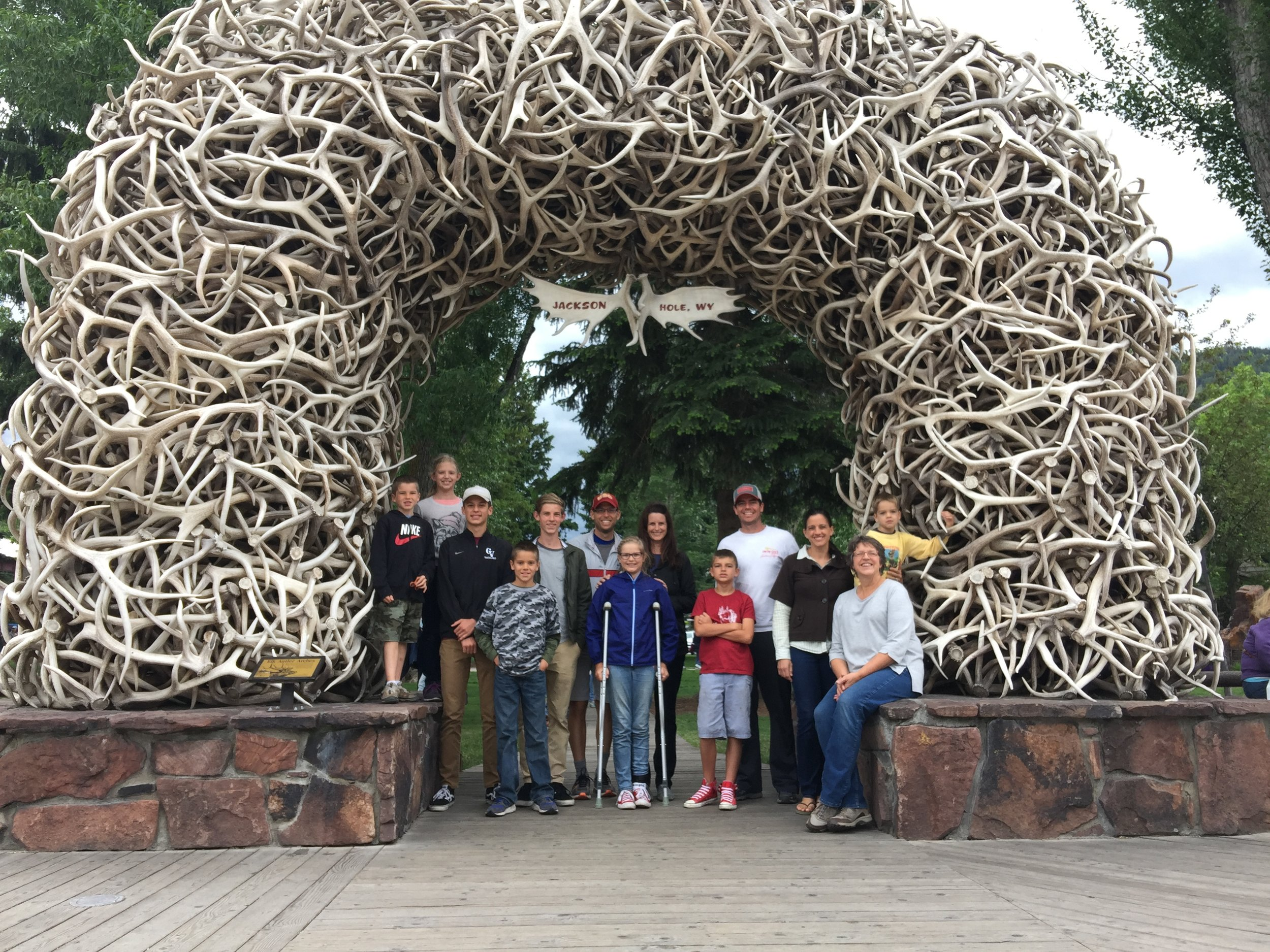 The whole gang in Jackson, WY!  Gateway to the Tetons, Yellowstone and a wonderful family road trip!