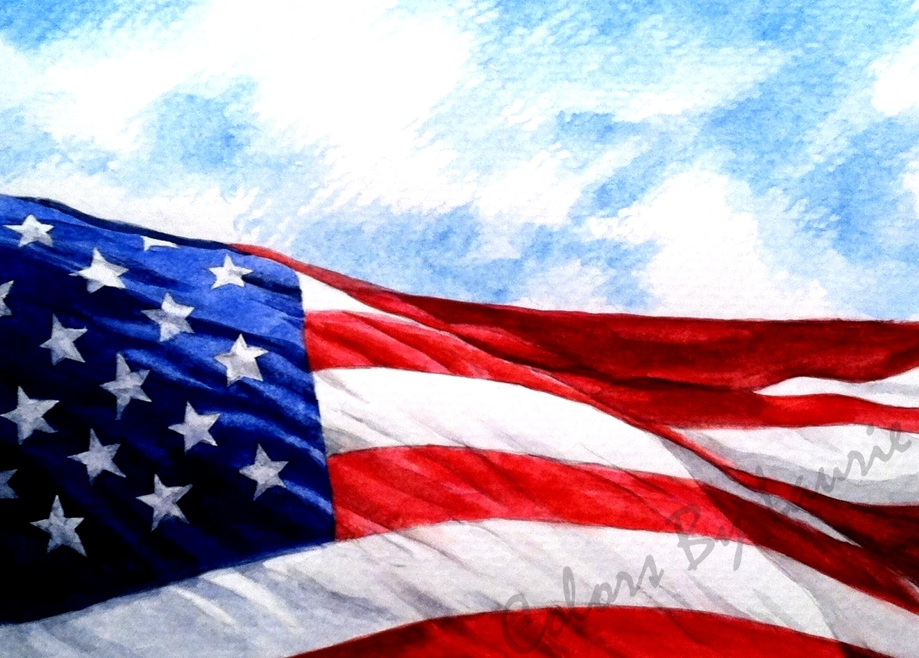 OLD GLORY - Three cheers for the Red, White and Blue! - SIZE: 5 X 7