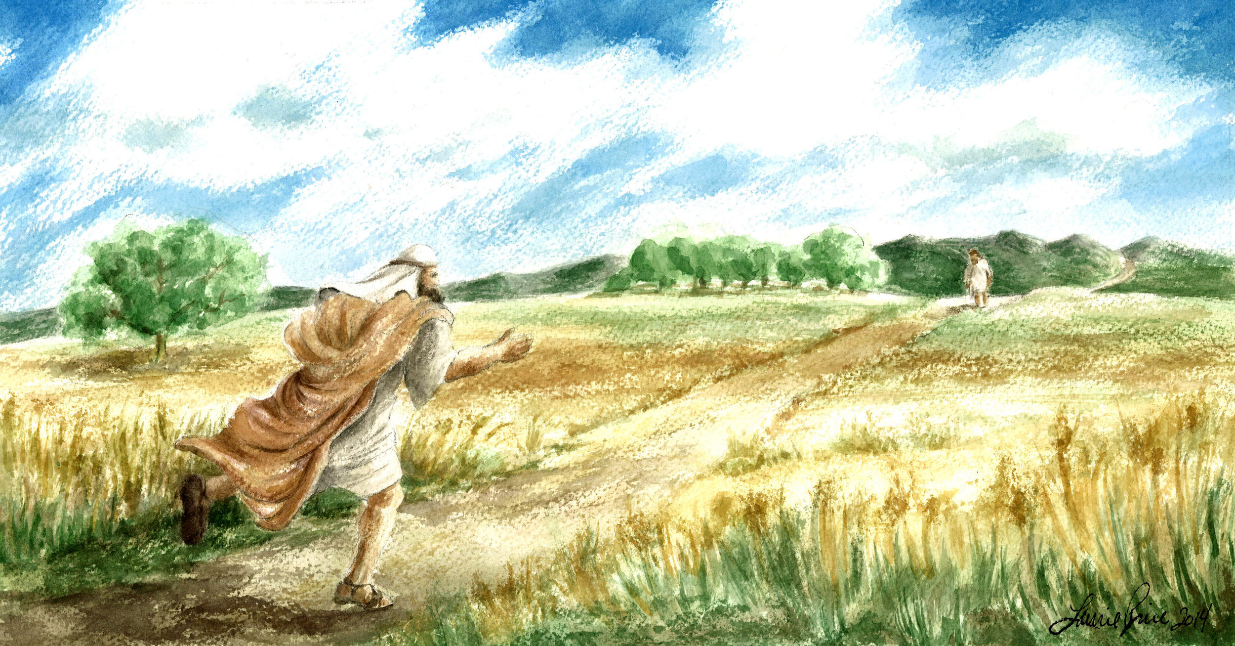 THE PRODIGAL'S FATHER RUNS TO HIS SON (COMMISSION)