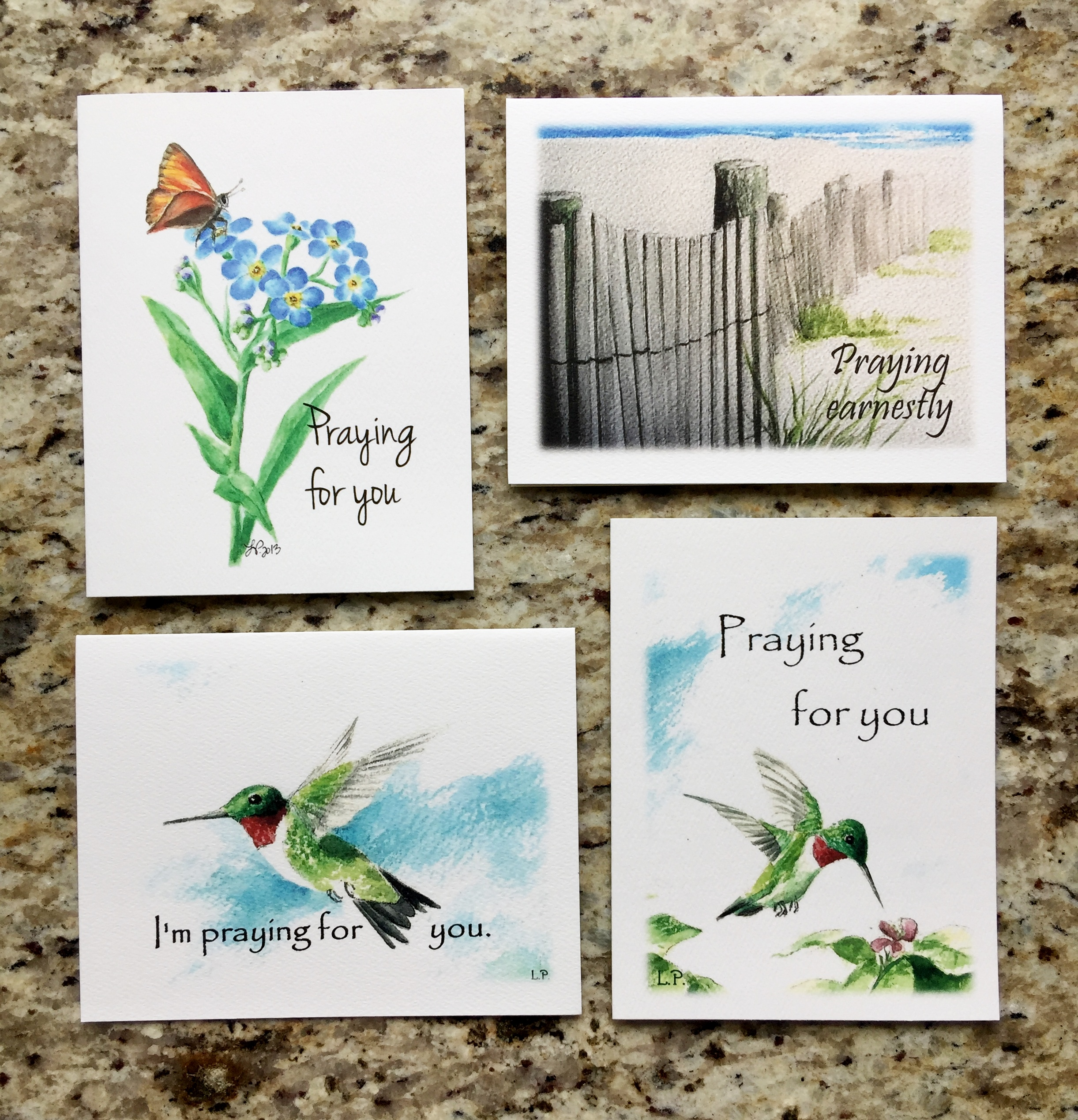 PRAYING FOR YOU SET - 2 each of 4 designs - Click photo for details.