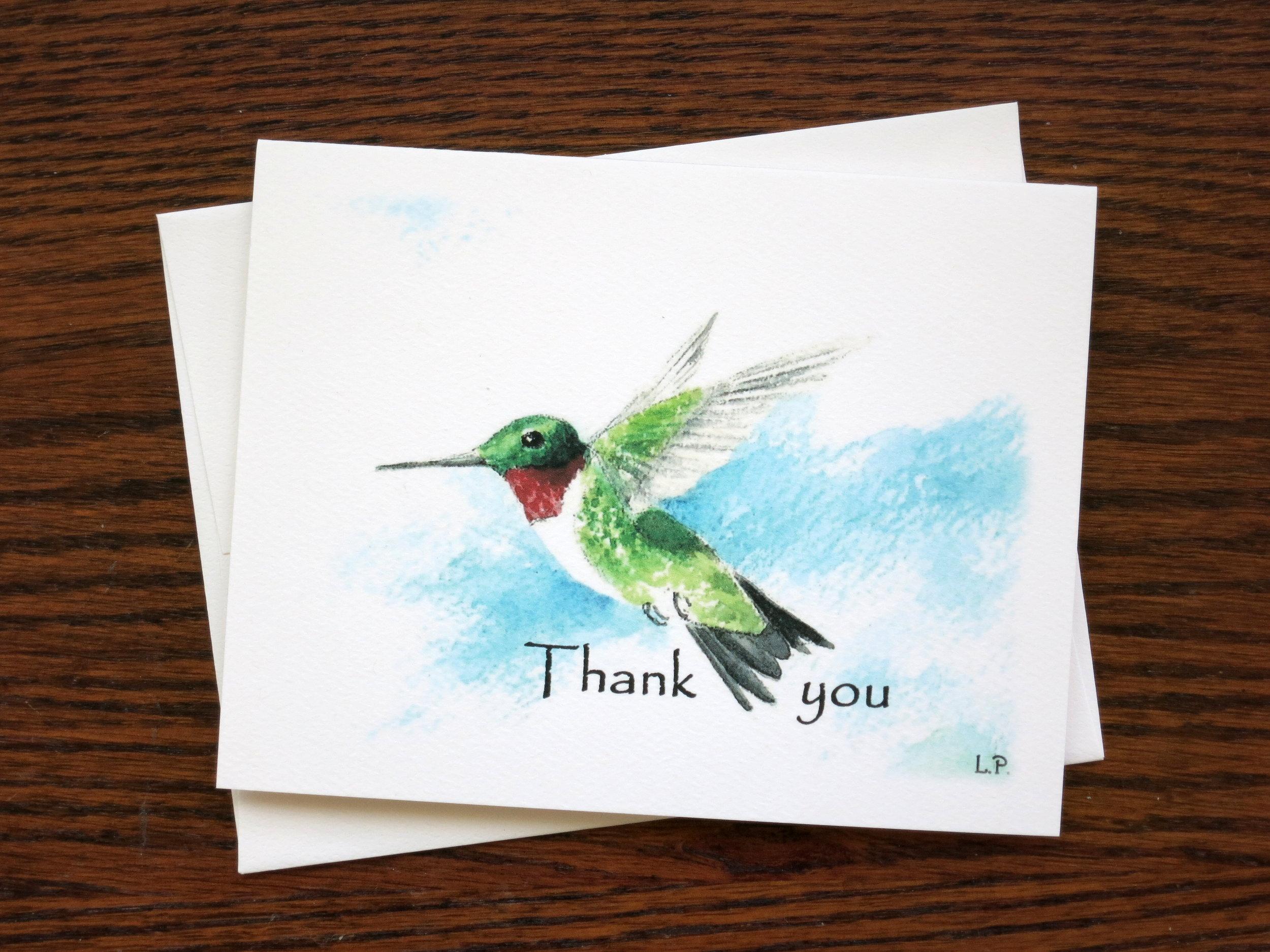 HUMMINGBIRD THANK YOU - 8 Cards - Blank inside