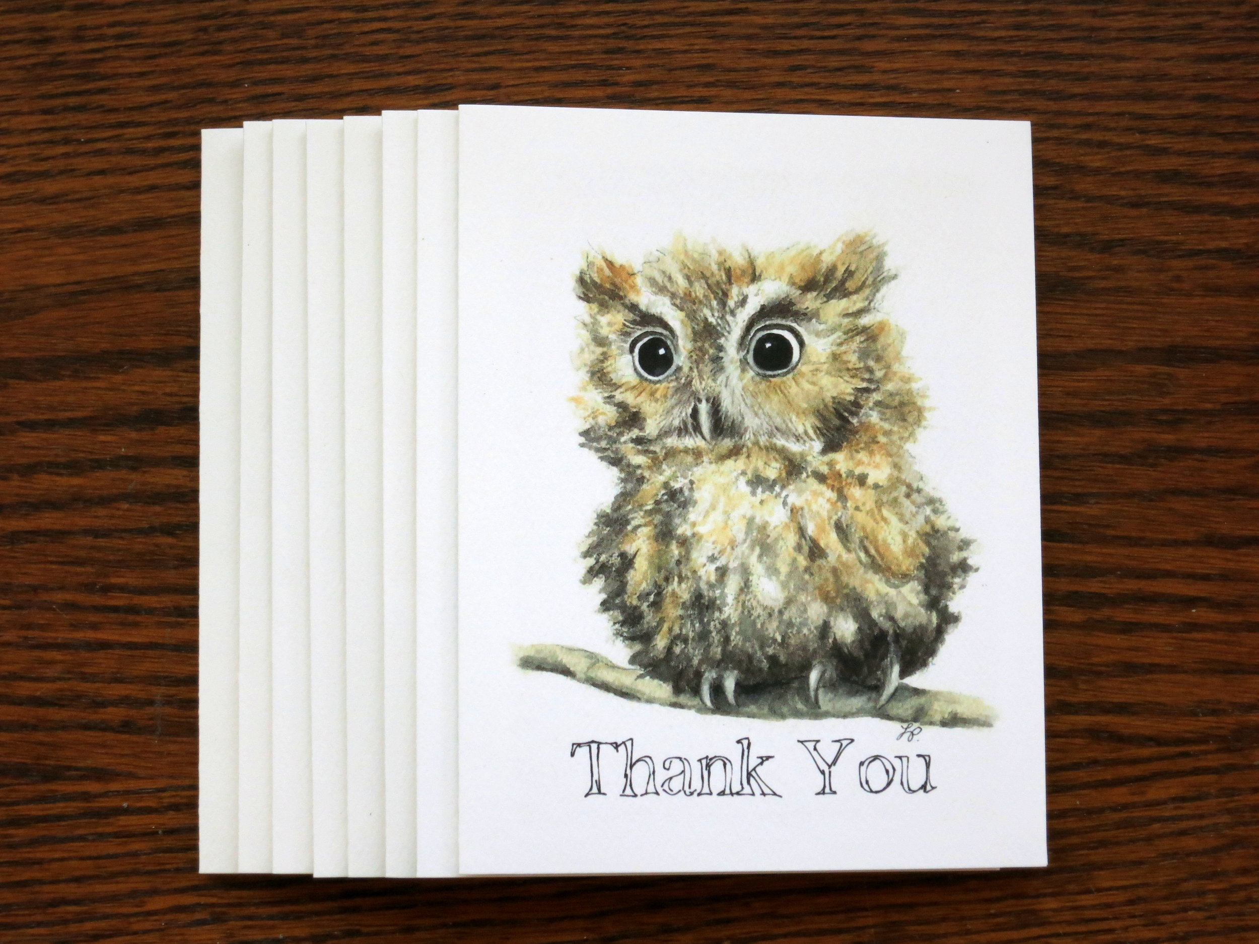BABY OWL THANK YOU - 8 Cards - Blank inside
