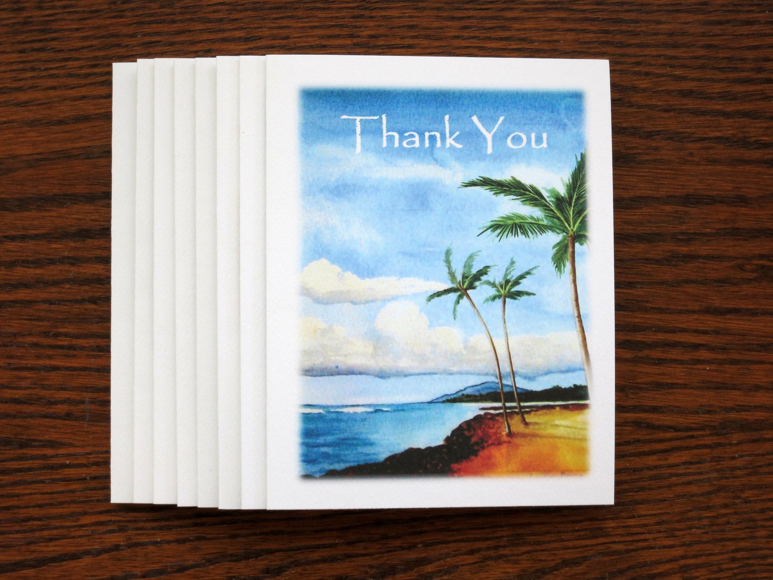 BEACH THANK YOU - 8 Cards - Blank inside