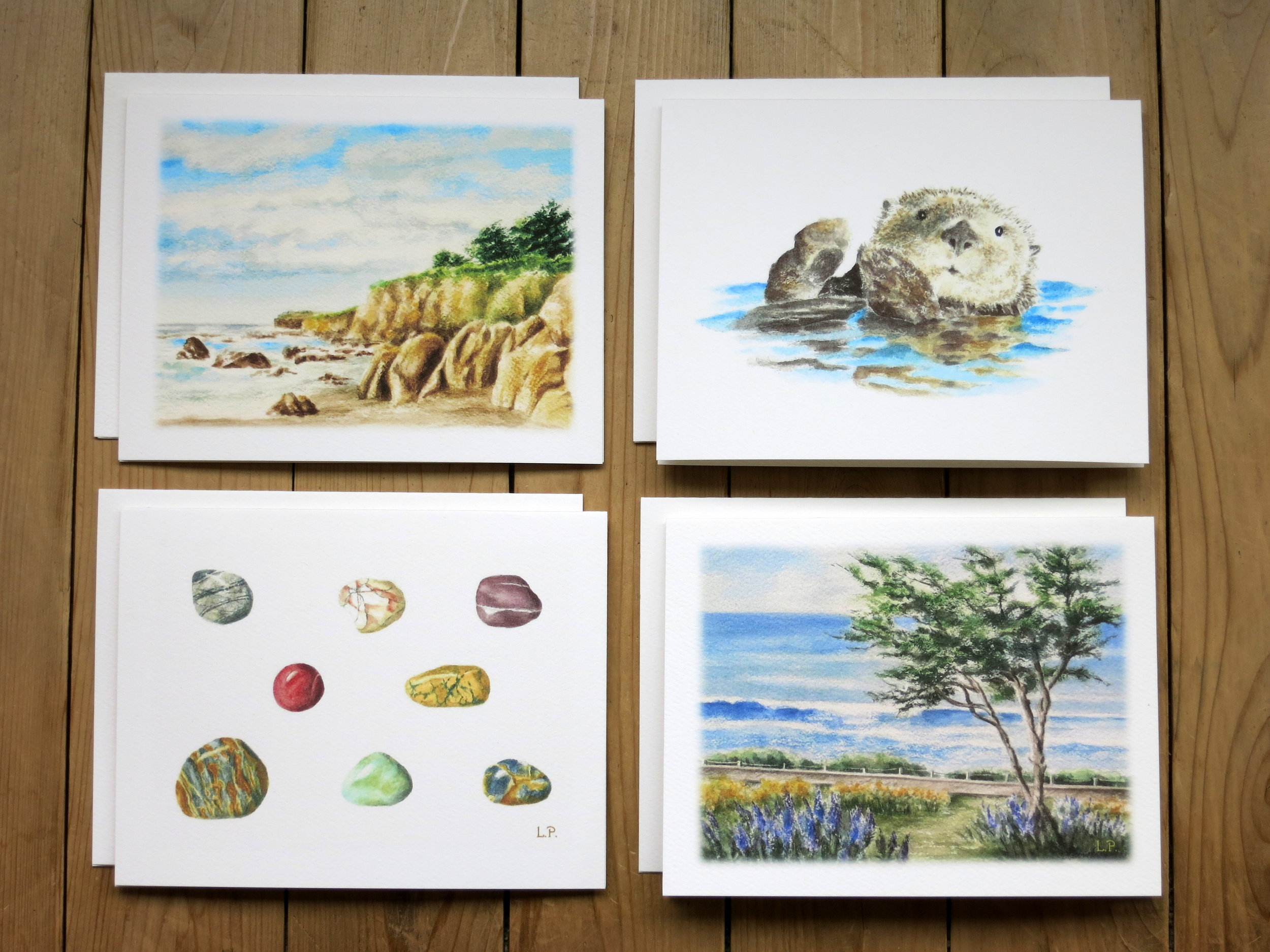 CENTRAL COAST MEMORIES NOTE CARDS 2 each of 4 designs - Blank inside