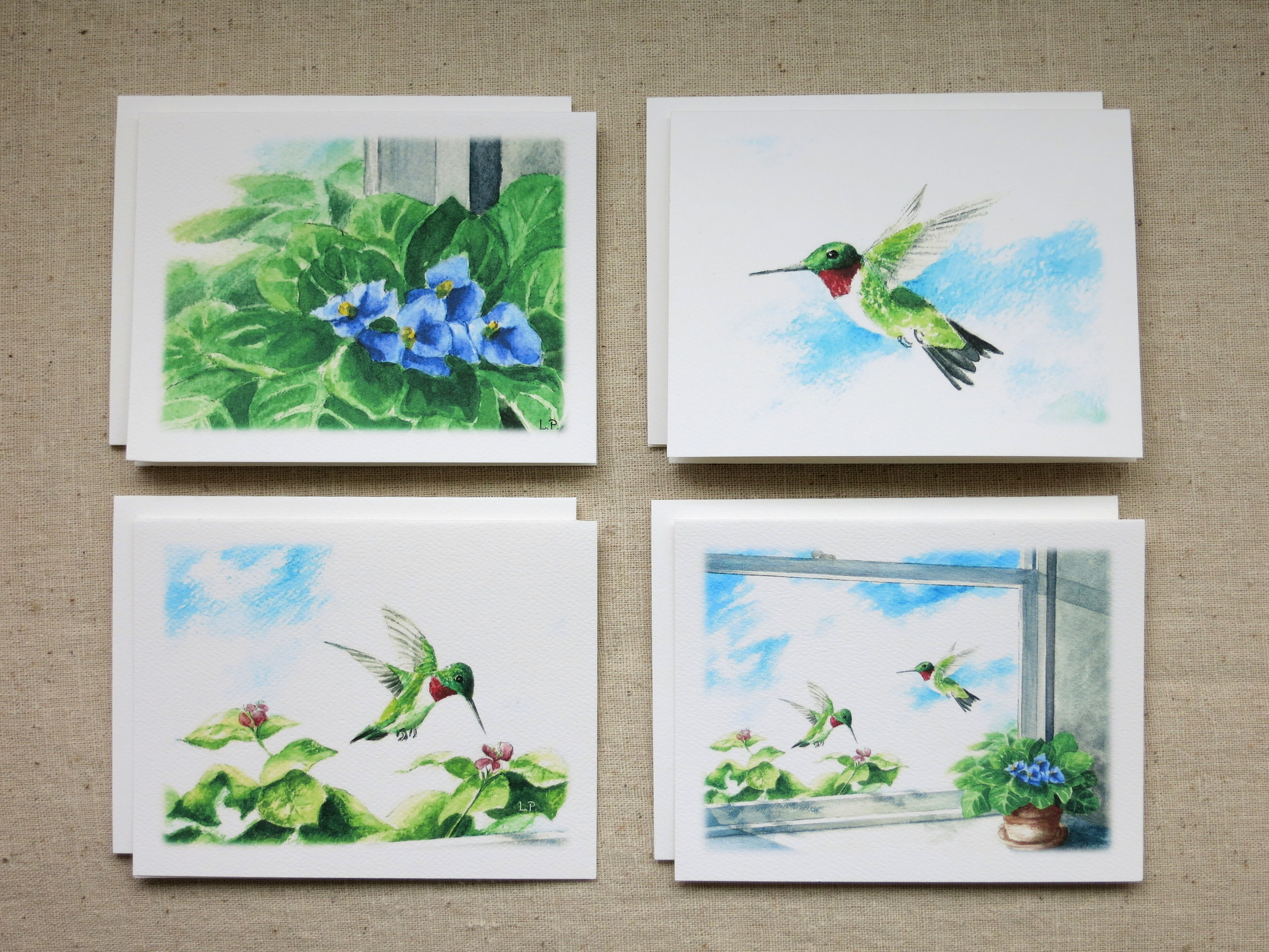 HUMMINGBIRD NOTE CARDS - 2 each of 4 designs - Blank inside