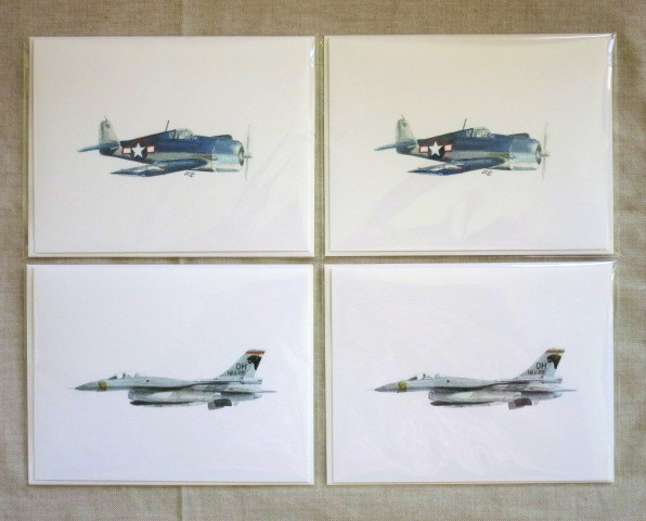 AIRCRAFT NOTE CARDS: 2 each of 2 designs - Blank inside