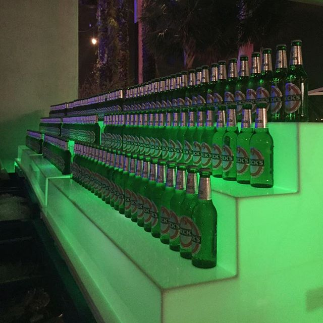 Beck's anyone? Our illuminated Ella Shelving on display for #pammpresents